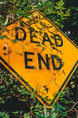 Dead End. Zeichen funktionieren nicht einfach.